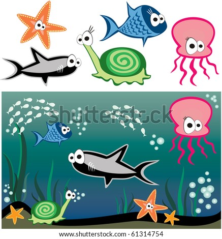 Vector fish under water ? shark, snail, starfish, octopus and others fishes - stock vector
