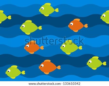 Vector fish underwater seamless pattern - stock vector
