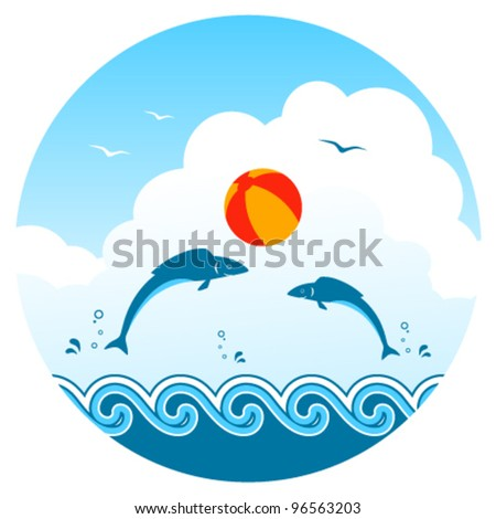 vector fishes playing with beach ball - stock vector