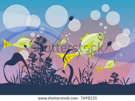 vector fishes with sea plants - stock vector