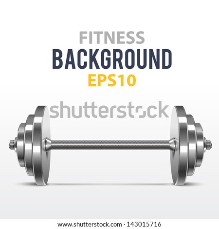 Vector fitness background with metal realistic dumbbell - stock vector