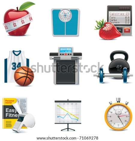 Vector fitness icon set - stock vector