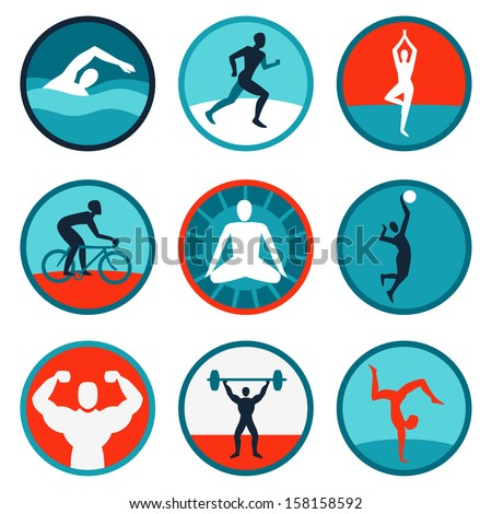 Vector fitness icons and signs - jogging, swimming - stock vector