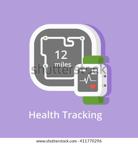 Vector fitness tracker icon.  Showing health condition and miles with smart bracelet or heart-rate watch. Wearable technology icons. - stock vector