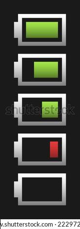 vector five battery fullness indicator with light gradient on dark background - stock vector