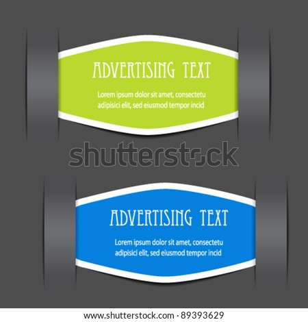 Vector fixed labels for advertising text - stock vector