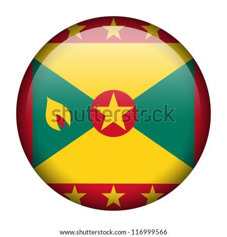 Vector flag button series - Grenada - stock vector