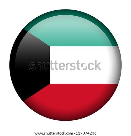 Vector flag button series - Kuwait - stock vector