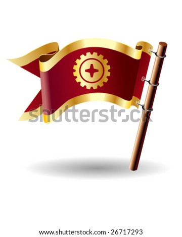 Vector flag button with gear icon on red and gold background - stock vector