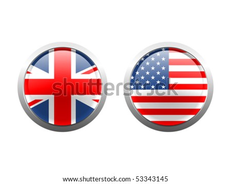 Vector Flag Buttons Layered vector illustration of British and US flags in glass button style. - stock vector