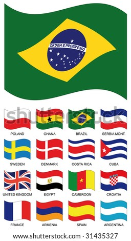 Vector Flag Collection. Poland, ghana, brazil, serbia montenegro, sweden, denmark, costa rica, cuba, united kingdom, egypt, cameroon, croatia, france, armenia, spain, argentina - stock vector