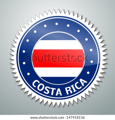 Vector flag label series - Costa Rica