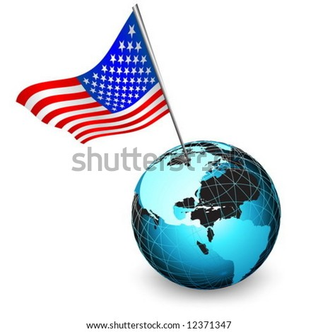 Vector flag of usa with earth globe