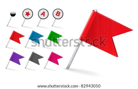 Vector Flag Pin Icon Set - stock vector