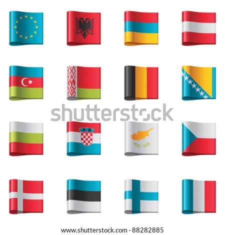 Vector flags. Europe, part 1 - stock vector