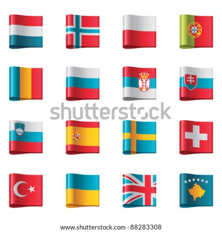 Vector flags. Europe, part 3 - stock vector