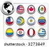 Vector flags of states from continent of America - stock vector