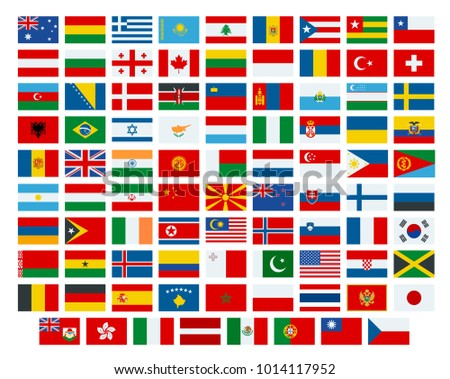 Vector flags of the world. Flags of the participating countries in the 2018 International Winter Sports Competitions.