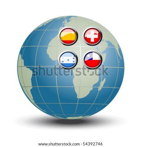 Vector flags on the blue globe - set 8 - stock vector