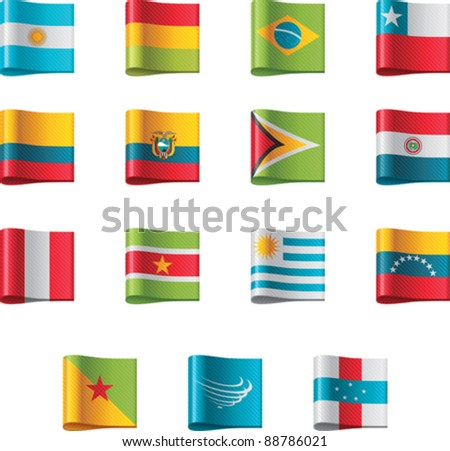 Vector flags. South America, part 12 - stock vector