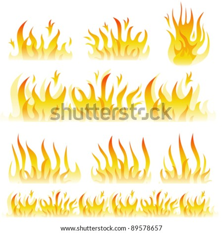 Vector flame collection - stock vector