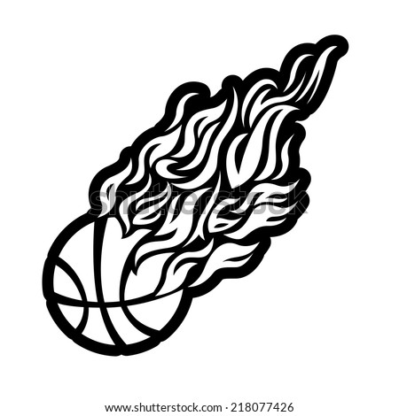 basketball with flames coloring pages - photo#6