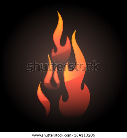Vector flame red light and glare - stock vector