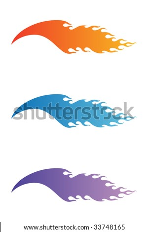 Vector flame set - stock vector