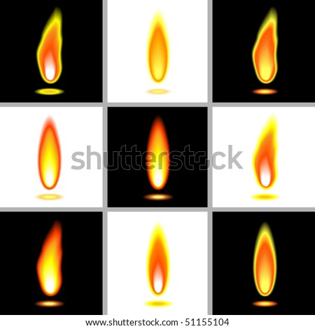 Vector flames in red, orange and yellow. JPG and TIFF image versions of this vector illustration are also available in my portfolio. - stock vector