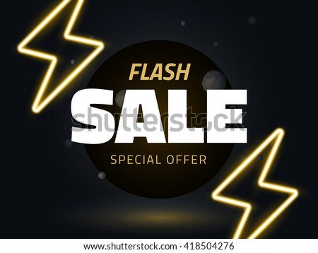 Vector flash sale design with thunder vector illustration, background with neon lightning for business design, retro style