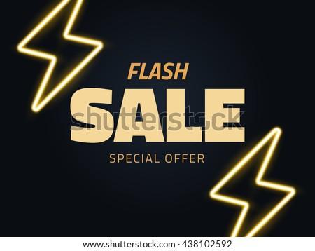 Vector flash sale vector illustration, background in retro style - stock vector