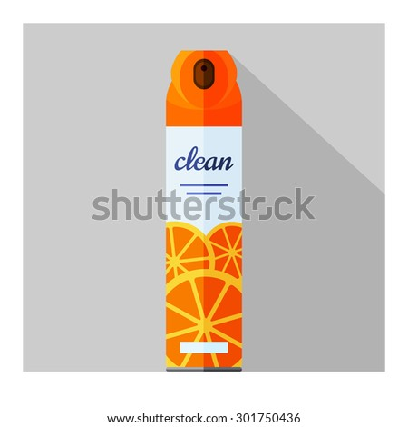 Vector flat air freshener aerosol bottle. Citrus fresh - stock vector