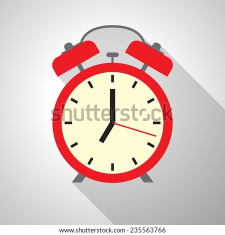 Vector flat Alarm clock icon. - stock vector