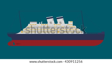 Vector flat an illustration with the image of a retro of the cruise liner - stock vector