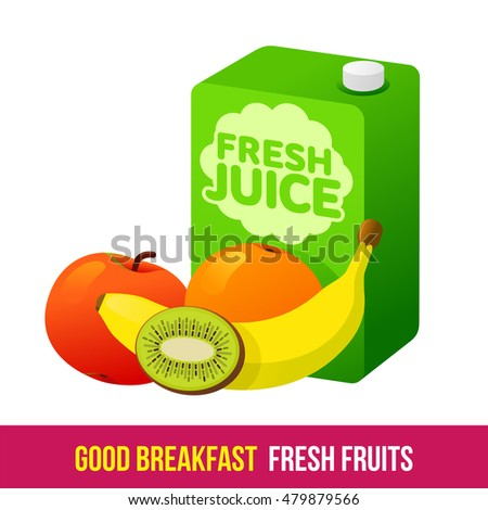 Vector flat and line icon fruits and fresh juices. Fresh and healthy breakfast, diet food. Web design, web icon, food menu. Isolated on a white background