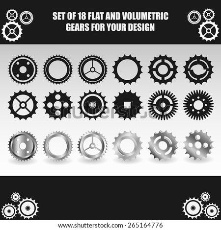 Vector flat and volumetric gear set for your design - stock vector