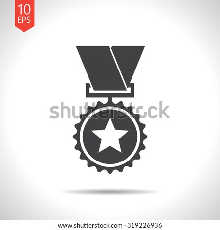 Vector flat black medal icon on white background . Winner award  - stock vector