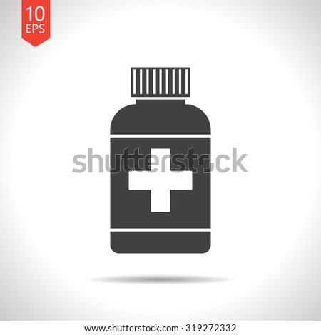 Vector flat black tablet bottle on white background . Health icon  - stock vector