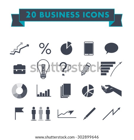 Vector flat business and marketing icons design.