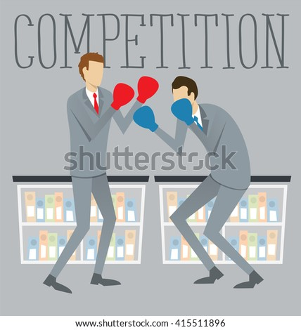 Vector flat business concept competition. Two boxing business mans - stock vector