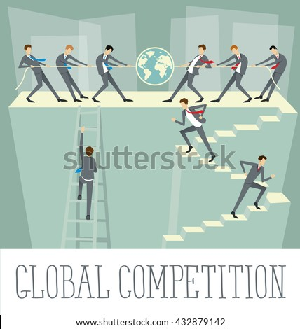 Vector flat business concept global competition - stock vector