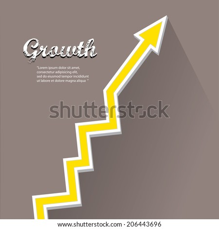 vector flat Business graph and chart on grey background.vector golden grow up arrow. - stock vector