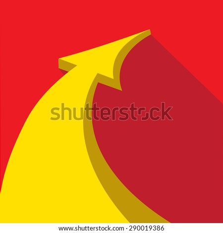 vector flat Business graph and chart on red background.vector golden grow up arrow - stock vector