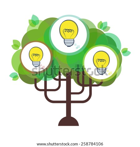 Vector flat business idea tree illustration