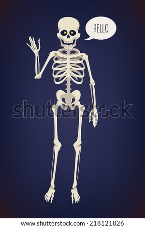 Vector flat cartoon bright colored human skeleton character with glowing orange eyes, waving hand and saying 'Hello' on dark blue background | Creepy skeleton design element | Halloween item: skeleton - stock vector