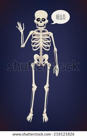 Vector flat cartoon bright colored human skeleton character with glowing orange eyes, waving hand and saying 'Hello' on dark blue background | Creepy skeleton design element | Halloween item: skeleton - stock vector