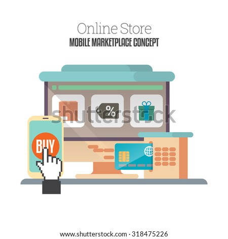Vector flat cartoon illustration of online mobile store concept. - stock vector