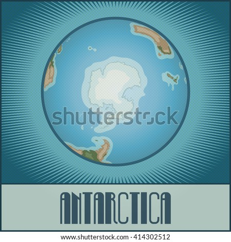 Vector flat cartoony globe of the Earth with Antarctica side. Made in pop art / comic book / retro style with Ben-Day dots. With gradients, transparencies and blending modes. - stock vector