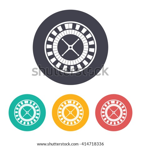 Vector flat casino roulette wheel icon with set of 3 colors  - stock vector