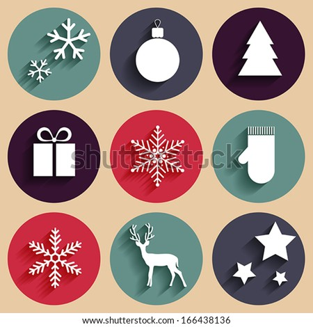 Vector flat Christmas icons in retro style - stock vector